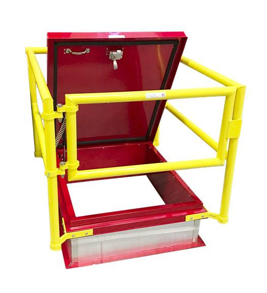 Designed with fall protection safety in mind. The highly visible yellow powder coat railing provides a safe perimeter around an open hatch.