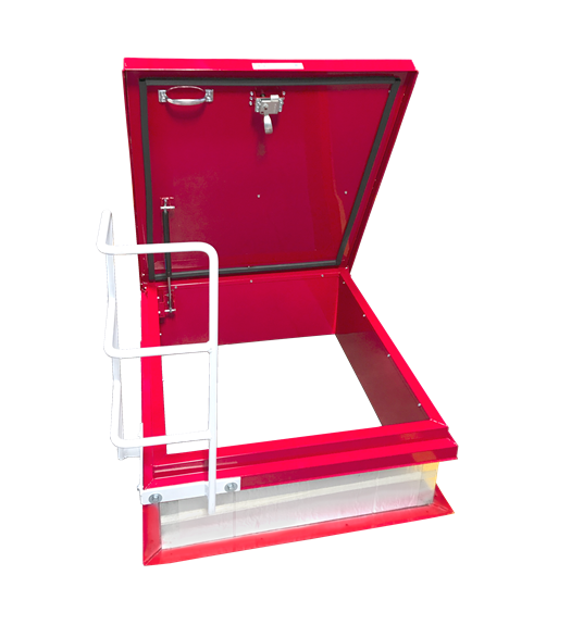 The durable and sturdy steel ladder assist is mounted to the frame for easy and safe rooftop access.