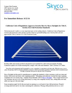 Cal/OSHA Compliant Security Bars- Press Release